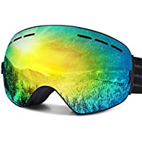 FYLINA Ski Goggles, OTG Snowboard Goggles with Anti-Fog, UV400 Protection Helmet Compatible Snow Goggles Detachable Dual Lens for Men Women and Youth (Goggle)
