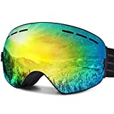 Ski Goggles, FYLINA OTG Snowboard Goggles with Anti-Fog, UV400 Protection Helmet Compatible Snow