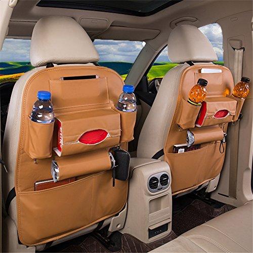 2 Stück PU Leder Auto Rücksitz Organizer Aufbewahrungstasche–Wasserdicht Auto Organisatoren, Khaki