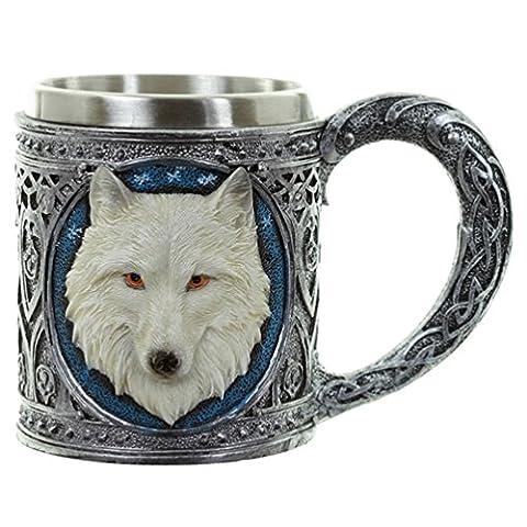 Deko Krug Weißer Wolf