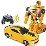 YOOCR ABS matériel une déformation télécommande voiture haute vitesse jaune course véhicule de déformation RC voiture universel électrique sans fil télécommande voiture jouet voiture cadeau de vacance