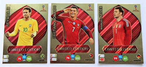 Panini Adrenalyn XL WM 2018 Russland - Set Ronaldo + Neuer + Neymar Karten limited Edition (Wm-karten Limited Edition)