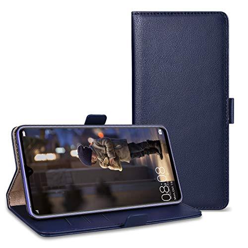 RuiPower Kompatibel für Huawei Mate 20 X Hülle Handyhülle Schutzhülle Leder PU Wallet Flip Case Bumper Lederhülle Ledertasche Klapphülle Klappbar Magnetisch Ultra Dünn Slim Inner Silikon - Blau