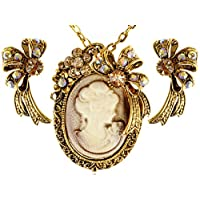 Alilang Golden Tone Sculpted Rose Rhinestone Embellished Leaves Pendant Necklace Earrings Set