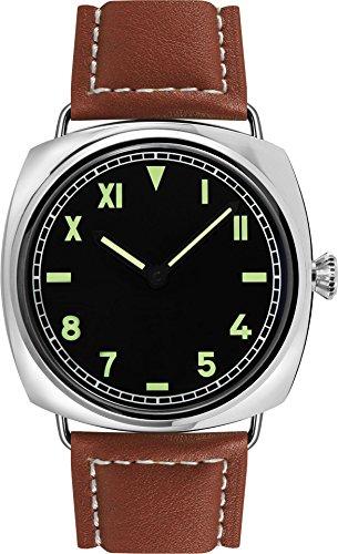 PARNIS 9041 California Dial klassische Handaufzug-Herrenuhr 47mm mechanische Herren-Armband-Uhr Edelstahl Lederarmband SeaGull ST36 Markenuhrwerk