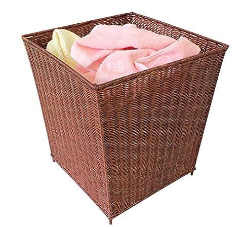 XXFFH@Poubelle Poubelle Trash Can Dirty Clothes Laundry Basket Panier De Vêtements Rattan Storage Basket Dirty Clothing Barrels Dirty Clothes Basket Paniers En Bambou , Brown
