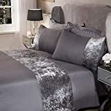 Sienna Crushed Velvet Panel Band Duvet Cover with Pillow Case Bedding Set - Silver Grey, King