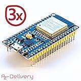 AZDelivery ⭐⭐⭐⭐⭐ 3 x ESP32 NodeMCU Module WLAN Wifi Development Board mit CP2102 (Nachfolgermodell Zum ESP8266) und Gratis eBook!