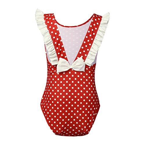 iEFiEL Kinder Mädchen Einteiler Badeanzug UV-Schutz Bademode Bikini Polka Dots 86-92 98-104 110-116 122-128 Rot 110-116 (Dots Badeanzug)