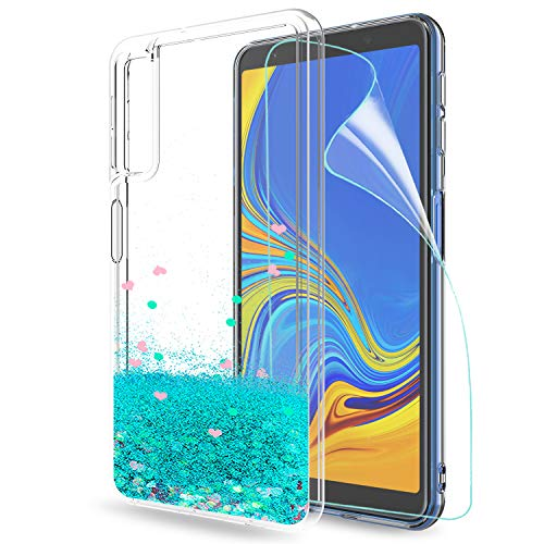 LeYi Hülle Galaxy A7 2018 Glitzer Handyhülle mit HD Folie Schutzfolie,Cover TPU Bumper Silikon Flüssigkeit Treibsand Clear Schutzhülle für Case Samsung A7 2018 (A750) Handy Hüllen ZX Turquoise