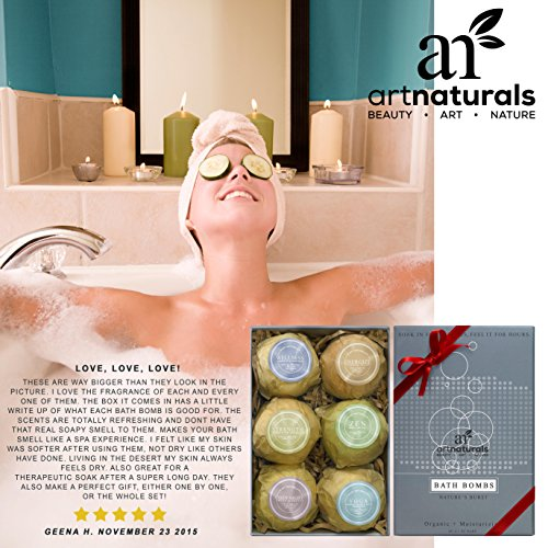 Art Naturals Badebomben Geschenkset - 6 Luxuriöse handgemachte Badekugeln aus ätherischen Ölen - Badesprudeltabletten - Organische & natürliche Inhaltsstoffe & Shea Butter für trockene Haut - Entspannung in der Box - Beste Geschenk-Idee -