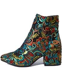 583915c4f3e8e1 FMWLST Stiefel Bestickte Stiefeletten Damen High Heels Geeignet Für Herbst  Und Winter Damenschuhe