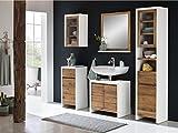 Woodkings® Bad Set Burnham Pinie weiß Natur rustikal Badmöbel Badschrank Badezimmer Komplettset Landhaus Holz