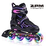 2pm Sports Vinal Violett Größe verstellbar Inline Skates für Mädchen und Damen, LED-Räder leuchten nachts auf - Violett, 34-37 (Medium)