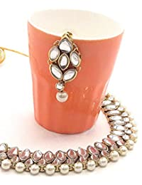 Homies Stunning & Trendy Gold Plated Kundan Necklace Set With Drop Earrings With Beautiful White Pearls For Women...