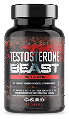 Testosterone Beast | Hardcore Supplement - Testosterone Booster for Men - High in Zinc which contributes to Normal Testosterone Levels | 30 Servings, 120 Capsules by Demon Labz