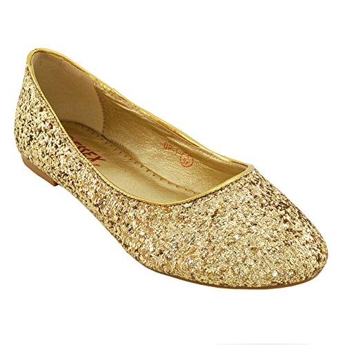 ESSEX GLAM Scarpa Donna Glitter Tacco Piatto Matrimonio Festa Oro Glitter