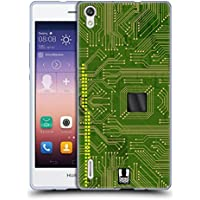 Head Case Designs Giallo Verde Circuiti Cover Morbida In Gel Per Huawei Ascend P7 / P7 Dual SIM