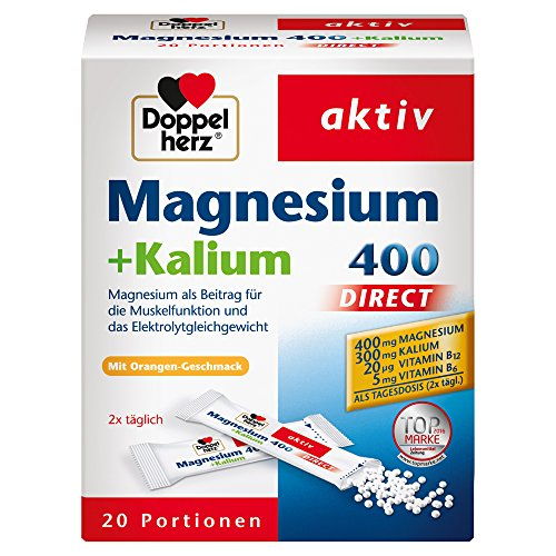 Doppelherz Magnesium 400 + Kalium DIRECT / Für die normale Muskelfunktion und das normale Nervensystem / 1 x 20 Portionen Micro-Pellets