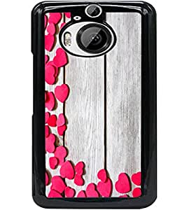ColourCraft Beautiful Hearts Pattern Design Back Case Cover for HTC ONE M9 PLUS