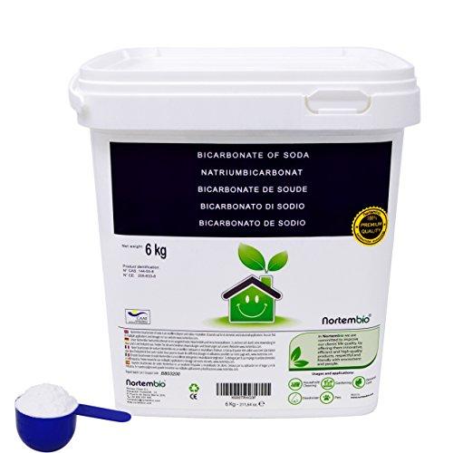 NortemBio Bicarbonate de Soude 6 Kg, Intrant de la Production Biologique, sans Aluminium, Qualité Supérieure, 100% Naturel. Développé en France.