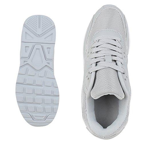 Knallige Damen Herren Unisex Sportschuhe | Auffällige Neon-Sneakers | Sportlicher Eyecatcher für Ihren Alltags-Look | Angenehmer Tragekomfort | Gr. 36-45 Hellgrau