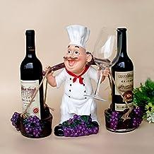 JIUJIA Pedal del Cocinero Colgantes Botella Doble botellero de la Cocina Vino Reina Figura Resina artesanías