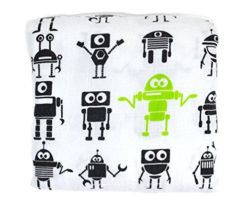 TaSu Roboter Musselin Swaddle Tuch aus Bio Baumwolle 120x120 cm Groß Mullwindeln Baby Bio Tuch Pucken
