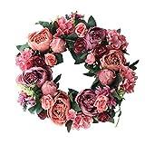 Ghirlanda per Appendere Le Porte - Ghirlanda di Rose Artificiali Rosa Peonia Decorazione per Porte Anello per Porte Decorazioni Decorative per Fiori Artificiali Ornamento da Parete, 40 Cm