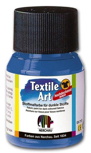Nerchau 144419 - Textile Art Stoffmalfarbe für dunkle Stoffe, 59 ml, Blau Dunkel Blau Stoff