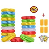 Mosquito Repellent Bracelet,Coxeer 20 Pack Colorful Mosquito Repellent Bands-All Natural, Deet Free and Waterproof Wristband for Adults and Children-BONUS 6 Pack Repellent Sticker Patch + 4 Pack Mosquito Repellent Fefills