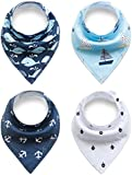 Alxcio Pack of 4 Piece Bandana Baby Drool Bibs Sets for Babies Girls Boys, Perfect for Dribble, Teething, Feeding, Fits Newborn to Toddler