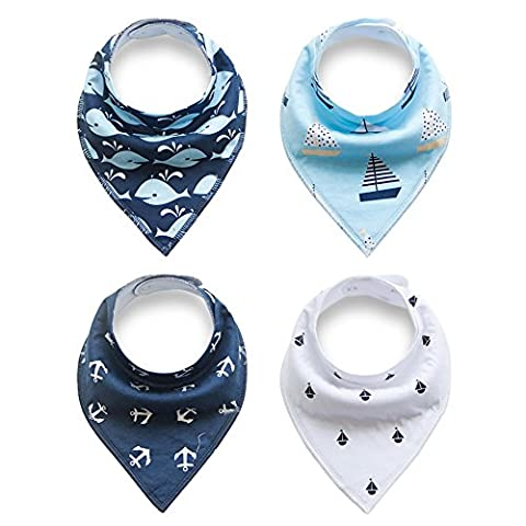 Alxcio Pack of 4 Piece Bandana Baby Drool Bibs Sets for Babies Girls Boys, Perfect for Dribble, Teething, Feeding, Fits Newborn to