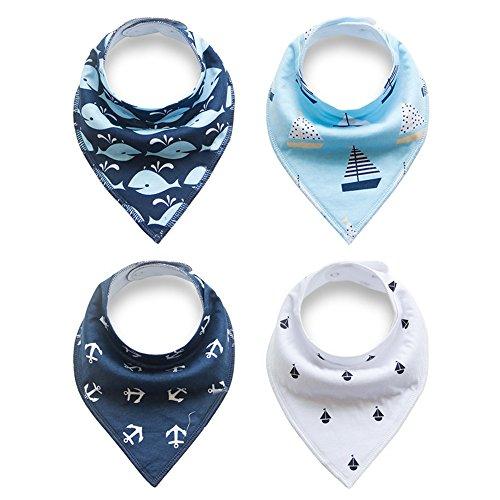 Alxcio 4er Pack Baby Dreieckstuch Bandana Lätzchen Spucktuch Baumwolle Halstücher Mit Druckknöpfen Multifunctional Für Neugeborenes Babies und Kleinkinder