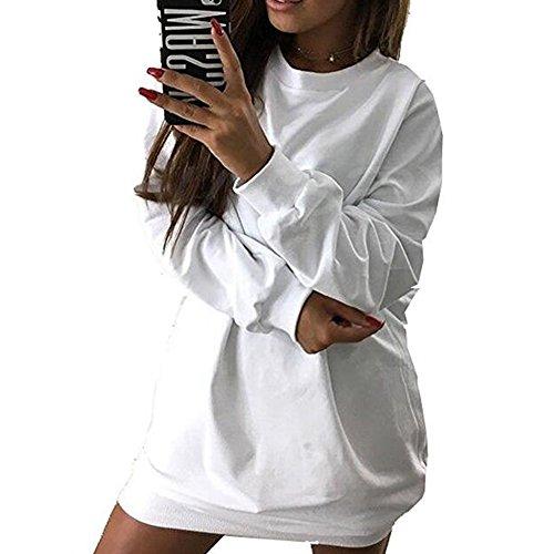 Felpa da donna manica lunga Oversize Tunica Felpa Tops Mini maglione saltatore Juleya bianca