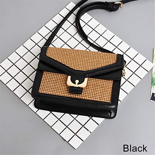 Handgemachte gewebte Streifen Muster Umhängetasche Sommer Bunte PU Leder Wrap Messenger Tote Black-B -