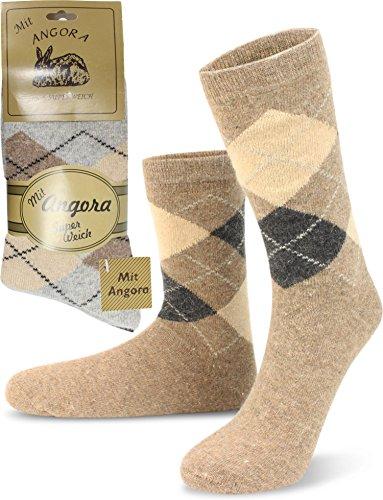 Wowerat 3 Paar warme Wollsocken mit Angora- und Schafwolle für Damen und Herren Farbe Dezente Farben Größe 39/42 - Angora Socken