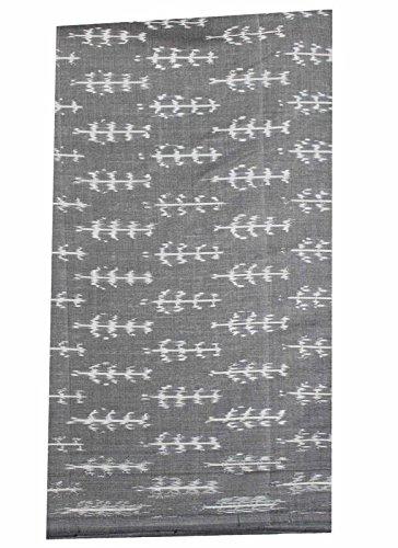 Grey Cotton Ikat Woven Fabric