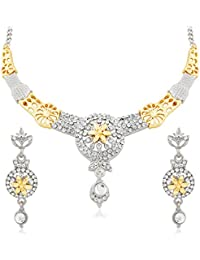 Apara Gold And Rhodium Plated Necklace Set With Austrian Diamond For Women
