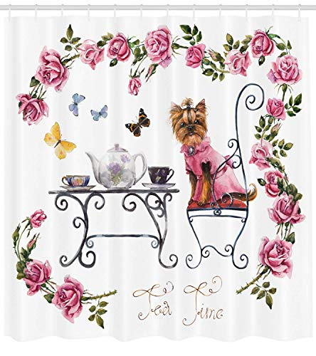XIAOYI Yorkie Shower Curtain, Yorkshire Terrier in Pink Dress Having a Tea Party Tea Time Butterflies Roses, Fabric Bathroom Decor Set with Hooks, 60x72 Inches, Pale Pink White - Lip Color Tea Rose