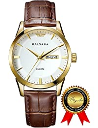 BRIGADA Swiss Watches For Men, Classic Gold Business Casual Waterproof Quartz Men's Watch, Great Gift For Someone...