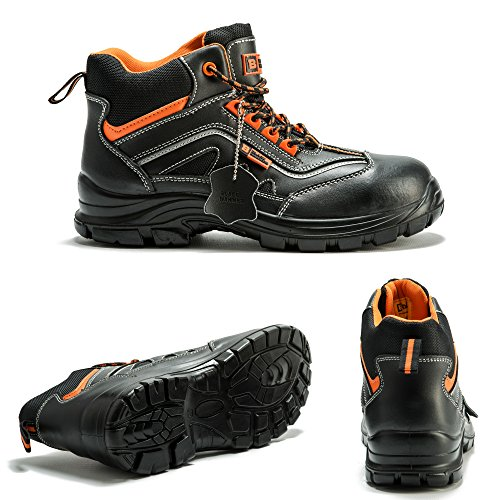 04f2d747e1e Black Hammer Mens Leather Safety Boots Metal Free Composite Toe Cap Kevlar  ...