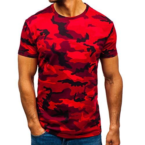 Tops Herren Sommer Shirts Basics Baumwolle Tank Tops Fitness Running Polo Bluse Strand Hemden Herbst 2019 Neu Qmber Camouflage Striped Pattern Lässige Mode Revers Kurzarm-Shirt/Rot,L Print One-shoulder-ruched Top