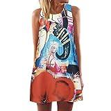 Minikleid,SANFASHION Vintage Boho Frauen Sommer Sleeveless Strand Printed Short Mini Dress (L, Orange)