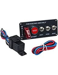 Panneau Interrupteur, hansee Accessoire Auto 12V LED Panneau bascule Interrupteur d'allumage moteur Bouton poussoir Start pour voiture de course