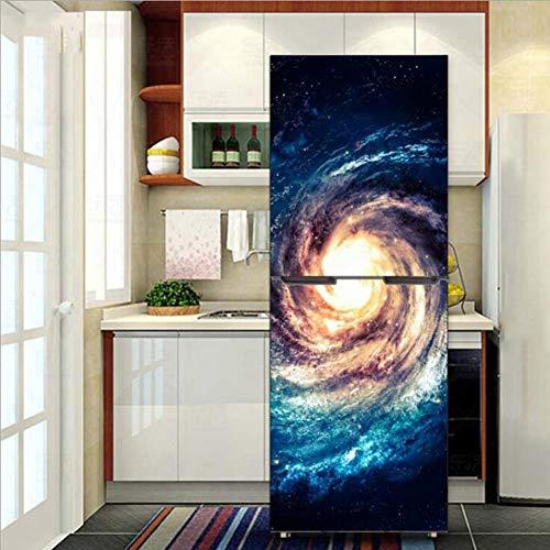 Kühlschrank Vinyl Cover (Aufkleber Kühlschrank Wrap Cover für Vinyl selbstklebende Küchenmöbel Schrank Erneuerung Galaxie Muster,60 * 150cm)