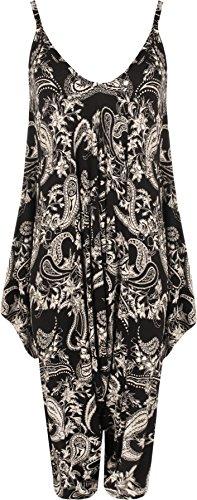 WearAll - Damen Lagenlook Strappy Ausgebeult Paisley Druck Jumpsuit Kleid Top - 1 Farben - Größe 40-54 Schwarz