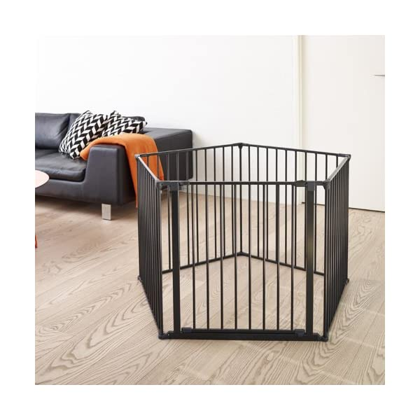 BabyDan Configure Gate XXL Black  Includes 4x 72cm Panels, 1x 72cm Gate Panel and Wall Mounting Kit Multiple purposes: Can be used as a safety gate, hearth gate, room divider and play pen Quick release wall fittings included. Flexible and easy to fit 3