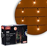 Christow Warm White LED Battery-Operated Christmas String Fairy Timer Lights