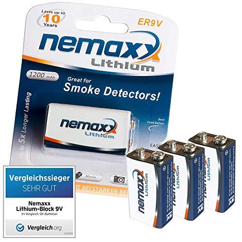 3x Nemaxx Lithium 9V Block Batterie Set für Rauchmelder 10 Jahre Lebensdauer